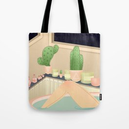 girl taking a relaxing bath under the stars Tote Bag