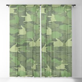 Handy Camo GREEN Sheer Curtain