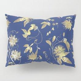 Elegant Gold Blue Passiflora Pattern Pillow Sham