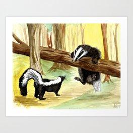 Skunk & Badger Art Print