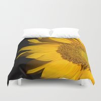 sunflower Duvet Covers featuring sunflower by mark ashkenazi