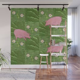 Three little pigs looking for daisies Wall Mural