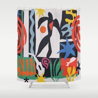 matisse Shower Curtains featuring inspired to Matisse (black) by Chicca Besso