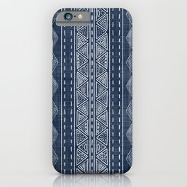 Mudcloth Navy Blue and White Vertical Tribal Pattern iPhone Case