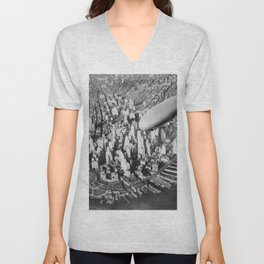 USS Akron in flight over Manhattan skyscrapers black-and-white photograph Unisex V-Neck