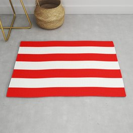 Red White Stripe Line Bold Stripes Lines Rug