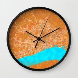 Kingston upon Hull, England, Gold, Blue, City, Map Wall Clock