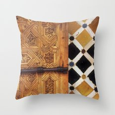 The door in The Alhambra Palace Throw Pillow