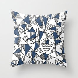 Abstraction Lines with Navy Blocks Throw Pillow