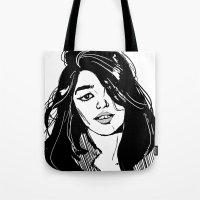 sky ferreira Tote Bags featuring Sky Ferreira by Priyanka Menon