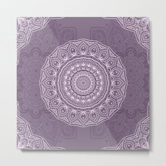 White Lace on Lavender Metal Print