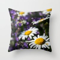 rileigh smirl Throw Pillows featuring Field of Daisies by Rileigh Smirl