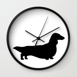 Longhaired Dachshund Silhouette Wall Clock