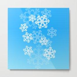 Cute blue snowflakes Metal Print