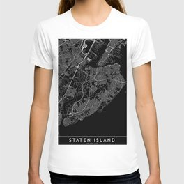 Staten Island Black Map T-shirt