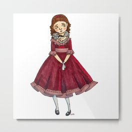 Little Girl With A Cat Metal Print