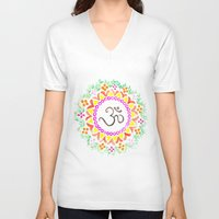 ohm V-neck T-shirts featuring Ohm / OM  by HollyJonesEcu