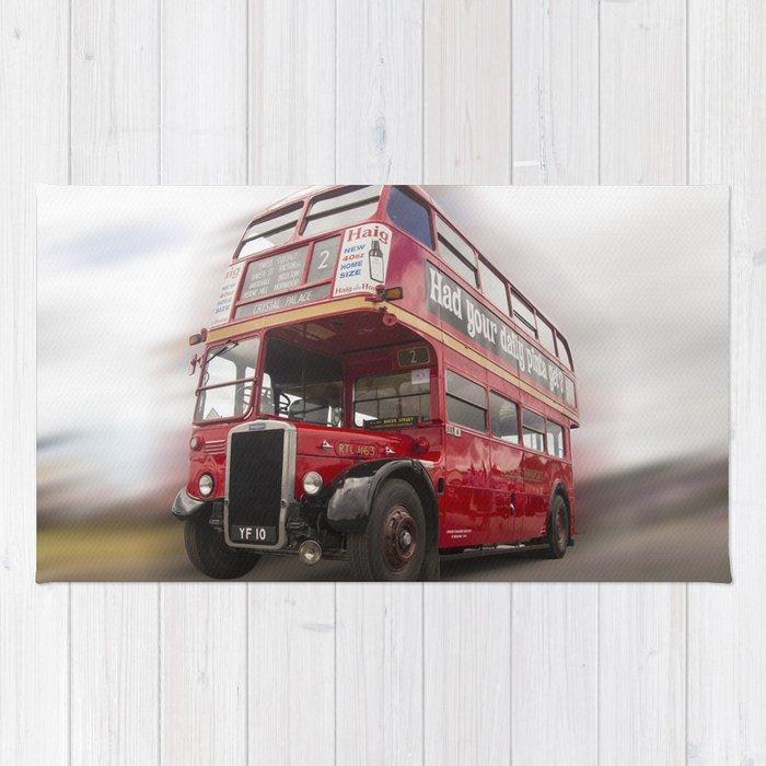 Old Red London Bus Vintage transport Rug