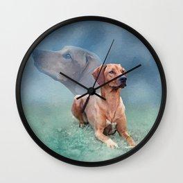 Rhodesian Ridgeback Dog Collage Wall Clock