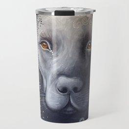 Rudy ... Original Abstract dog art painting, Black Labrador Travel Mug