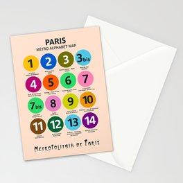 Paris Metro map, subway poster, Métro de Paris, underground alphabet map Stationery Cards