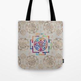 Sri Yantra  / Sri Chakra in color on canvas Tote Bag
