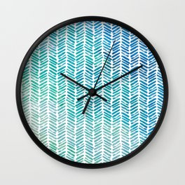 Handpainted Herringbone Chevron pattern - small - teal watercolor on white Wall Clock