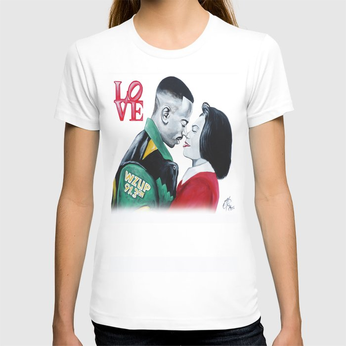Black Love - Martin & Gina T-shirt by C-Ray Art - White - SMALL - Womens Fitted Tee