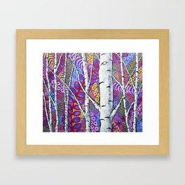 Sunset Sherbert Birch Forest by Mike Kraus-art birch aspen trees forests woods nature interior decor Framed Art Print