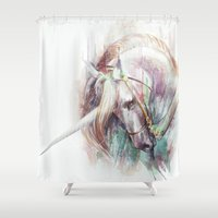 unicorn Shower Curtains featuring Unicorn by beart24