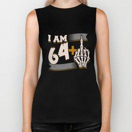 I Am 64 Plus Middle Finger Skeleton 65th Birthday Biker Tank