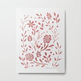 Fresh Floral - Rose Gold Metal Print