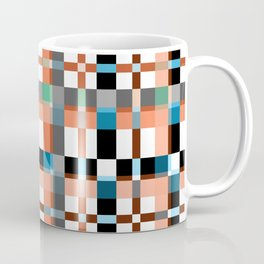 Blue white orange geometric pattern . Coffee Mug