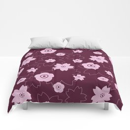 Sakura blossom - burgundy Comforters