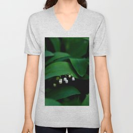 Lily Of the Valley With Large Green Leaves Unisex V-Neck