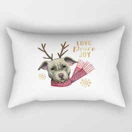 Christmas Reindeer Pit Bull with Faux Gold Snowflakes Rectangular Pillow