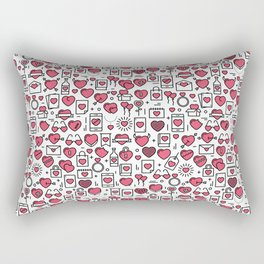 Background with icons and hearts Rectangular Pillow