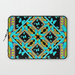 Decorative Western Style Turquoise Butterflies  Black Gold Patterns Laptop Sleeve