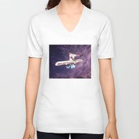 snowboarding V-neck T-shirts featuring Snowboarding #2 by Bruce Stanfield