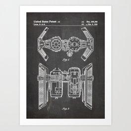 Starwars Tie Bomber Patent - Tie Bomber Art - Black Chalkboard Art Print