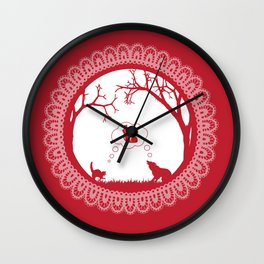 Love Undead Red Wall Clock