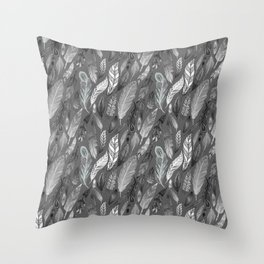 Falling Feathers on a Grey Day Throw Pillow
