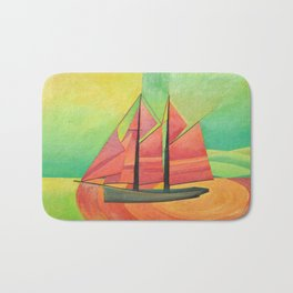 Cubist Abstract Sailing Boat Bath Mat