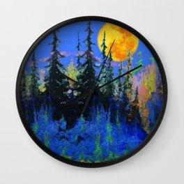 Blue Mountain Full Moon Landscape Art Wall Clock