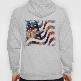 Country Music Guitar And American Flag By Annie Zeno  Hoody