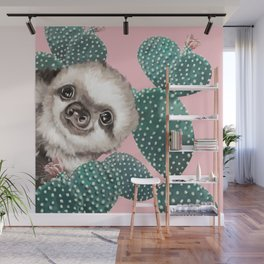 Sneaky Baby Sloth and Cactus in Pink Wall Mural