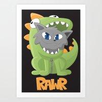 onesie Art Prints featuring Cat Dino Onesie by Bookyo