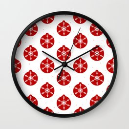 Snowflakes in Red Ornaments Christmas Decor Wall Clock