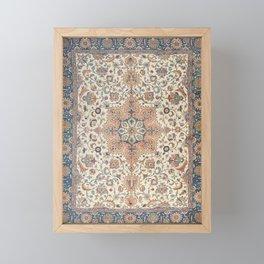 Fine Persia Tabriz Old Century Authentic Colorful Blue Rust Orange Vintage Patterns Framed Mini Art Print