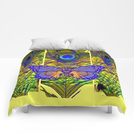 FANTASY PURPLE MONARCH BUTTERFLY PEACOCK FEATHER Comforters